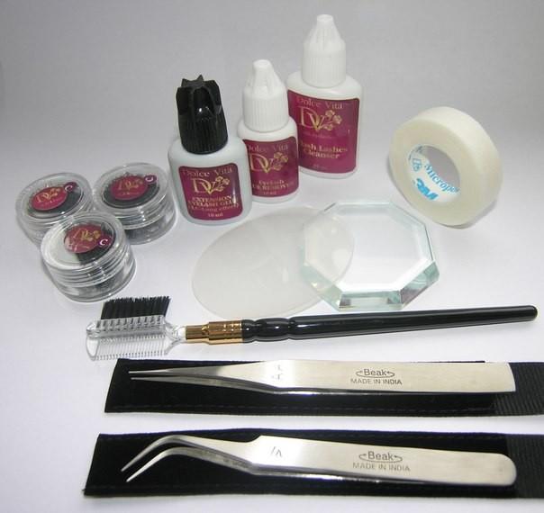 набор для наращивания ресниц, все для наращивания ресниц, набор для наращивания ресниц дольче вита, материалы для наращивания ресниц, материалы для наращивания ресниц Dolce Vita