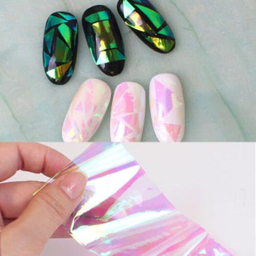 фольга для ногтей, фольга битое стекло, битое стекло для ногтей, дизайн битое стекло, Битое стекло для дизайна ногтей